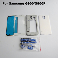 White Complete Full Housing for Samsung Galaxy S5 G900f middle frame + battery door cover + Front Glass Screen Lens + Tool