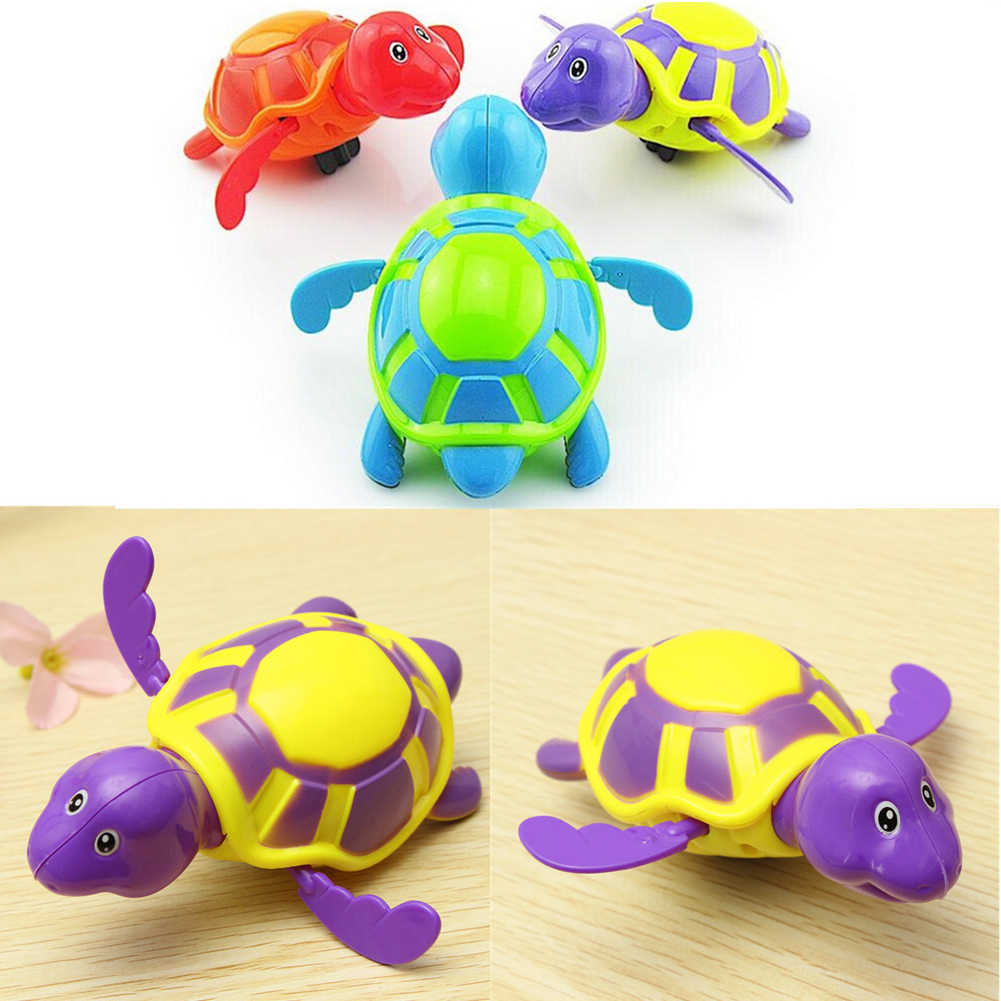 Newborn Cute Cartoon Animal Tortoise Baby Bath Toy Swim Turtle Chain Clockwork Classic  Kid Educational Funny Toy Birthday Gift