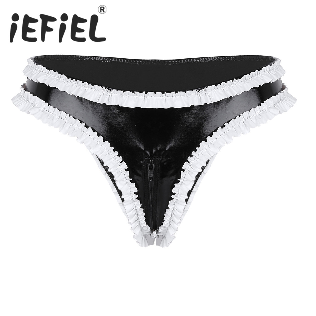 4f8aa8581626 Sexy Fashion Women Lingerie Wetlook Faux Leather Ruffled Trims Zipper  Crotch High Cut Low Rise Mini