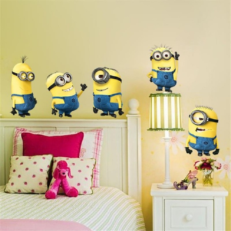 Cartoon minions wall stickers Cute Yellow Boy On Holiday Smashed Window Kids Room Bedroom Decoraton Vinyl Decals Mural Poster 1