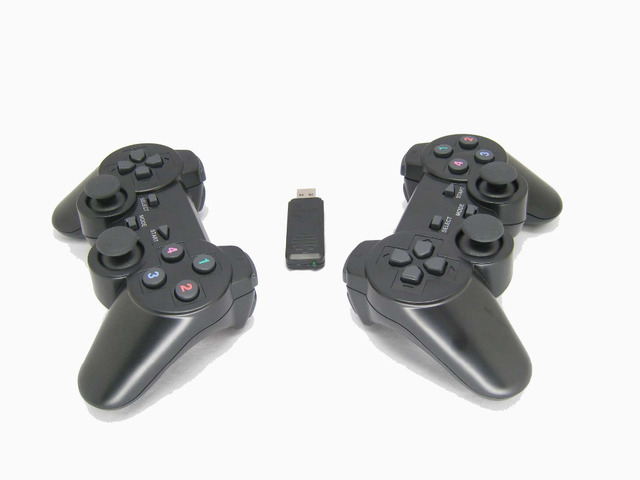 US $14 05 11% OFF|2 4Ghz wireless computer game controller PC gamepad with  dual vibration dual joysticks for Windows XP Win 7 Win 8 Win 10 2pcs-in