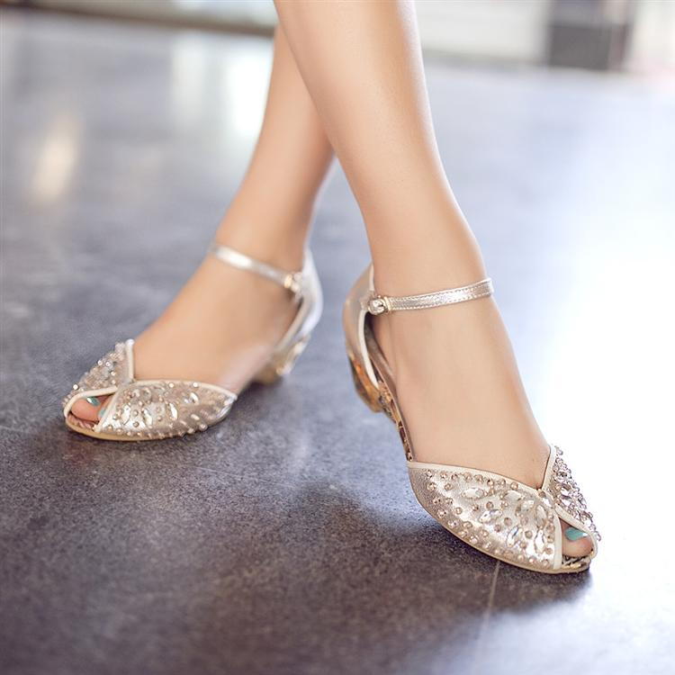 0b0b5e1ead59 2013 rhinestone sandals genuine leather open toe wedges shoe gold silver  crystal wedding shoes flat small yards female sandals