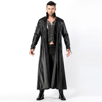 Faux Leather Long Gothic Coat Halloween Costumes For Men Party Dracula Vampire Male Warrior Selene Outfit Devil Cosplay Clothing