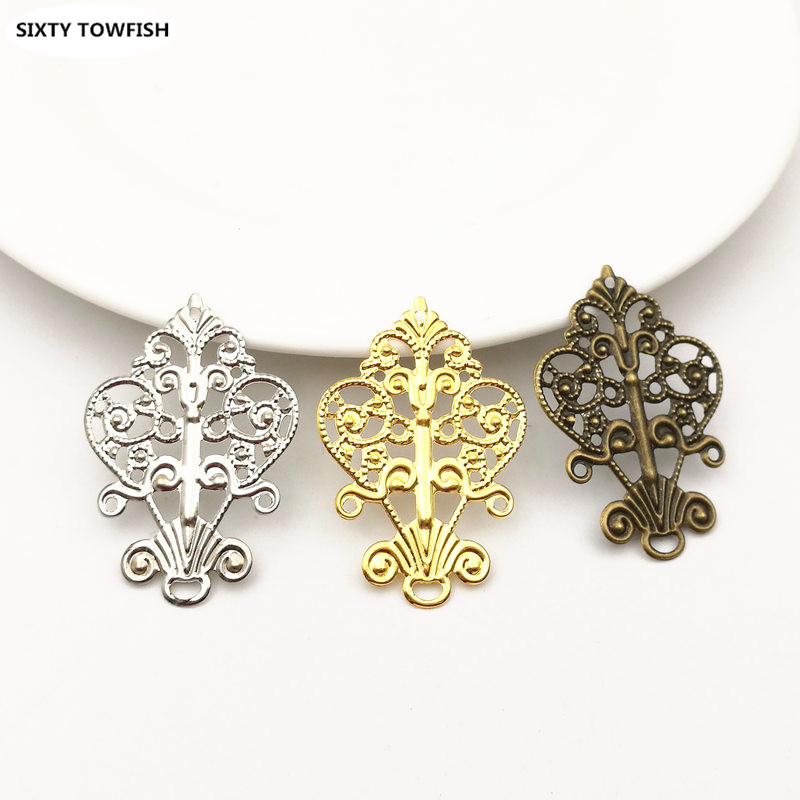 20pcs/lot 27x40mm 3Colors Metal Filigree Flowers Slice Charms Pendant Settings DIY Components Jewelry Findings B103147