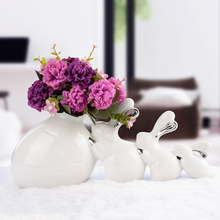 Modern Ceramic Vase creative Vase rabbit family  Figurines & Miniatures Wedding Gifts Home Handicraft Furnishing Articles modern creative furnishing articles big mouth pelican home decor tabletop handicraft resin copper animal figurines miniatures