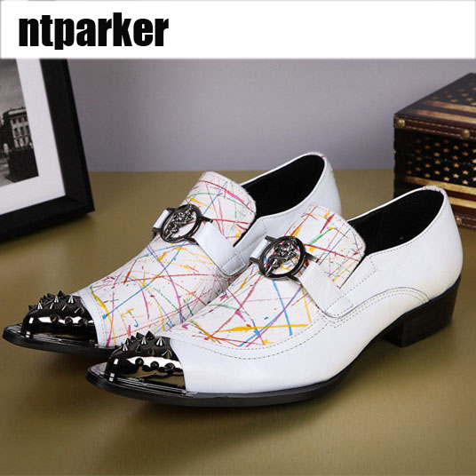 Здесь можно купить  ntparker-New Arrival LUXURY Italian Style White Man Leather Shoes Pointed Metal Toe Oxford Shoes Zapatos Hombre, EU38-46  Обувь