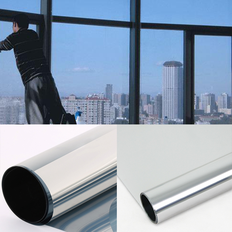 Window film silver one way mirror insulation sticker solar reflective sunscreen privacy tint wall glass film in decorative films from home garden on