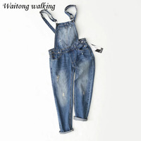 2017 Spring Brand Europe Woman Casual Overalls Denim Jeans Jumpsuits Ripped Ladies Big Size Rompers BodySuit