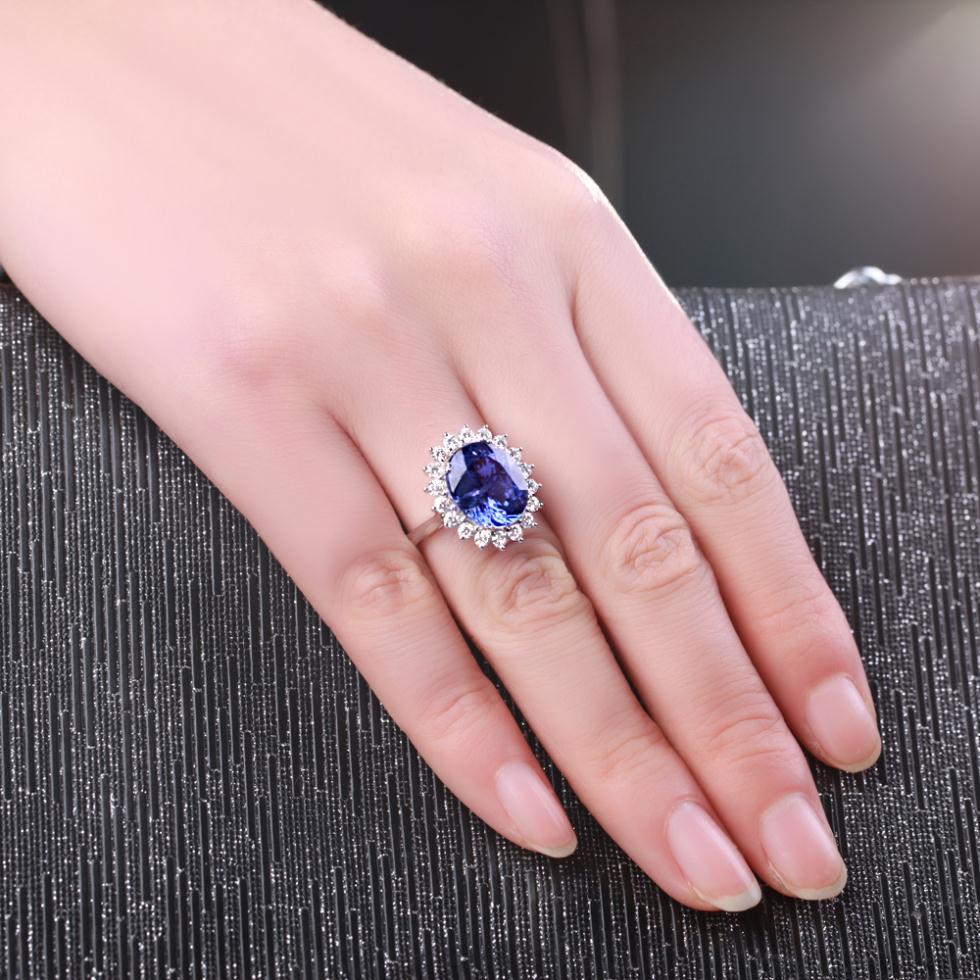 5carat Blue Gemstone 18K White Gold Blue Tanzanite Ring For Women ...