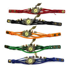 Womens Watch Bracelet Vintage Weave Wrap Quartz Leather Leaf Beads Wrist Watches High Qulity Hot Maketing Beautiful M 2