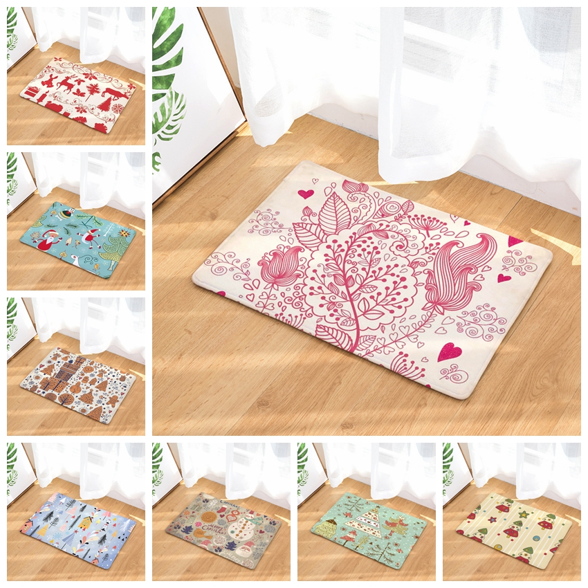 Soft Happy Christmas Pattern Doormat Mat Outdoor Indoor Antiskid Home Decor New Year Doo ...