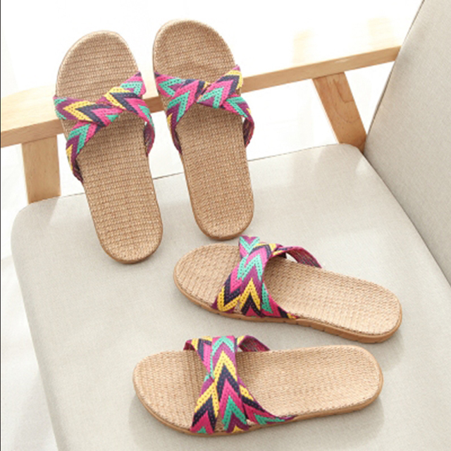 New  Fashion Flax Home Slippers Indoor Floor Shoes Cross Belt Silent Sweat Slippers For  Women Sandals