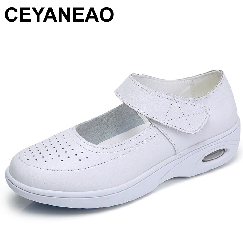 CEYANEAO Smmuer Casual Women Shoes Solid White Flats Nurse Shoes Flat Platform Split Leather Ladies Shoes Slip On Zapatos Mujer image