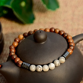 2019 Classic Women 6MM Natural Wood Beads Bracelet Men Ethnic Hematite Lava Stone Bracelet Homme Prayer Jewelry Yoga Bracelet 1