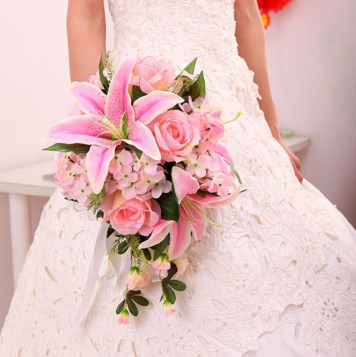 pink lily wedding bouquet aliexpress buy new arrival pink ivory silk 6587