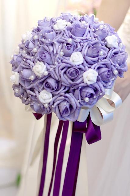 2017 Bridal Bridesmaid Wedding Bouquet Cheap New Purple Handmade Artificial Rose Flower Bouquets