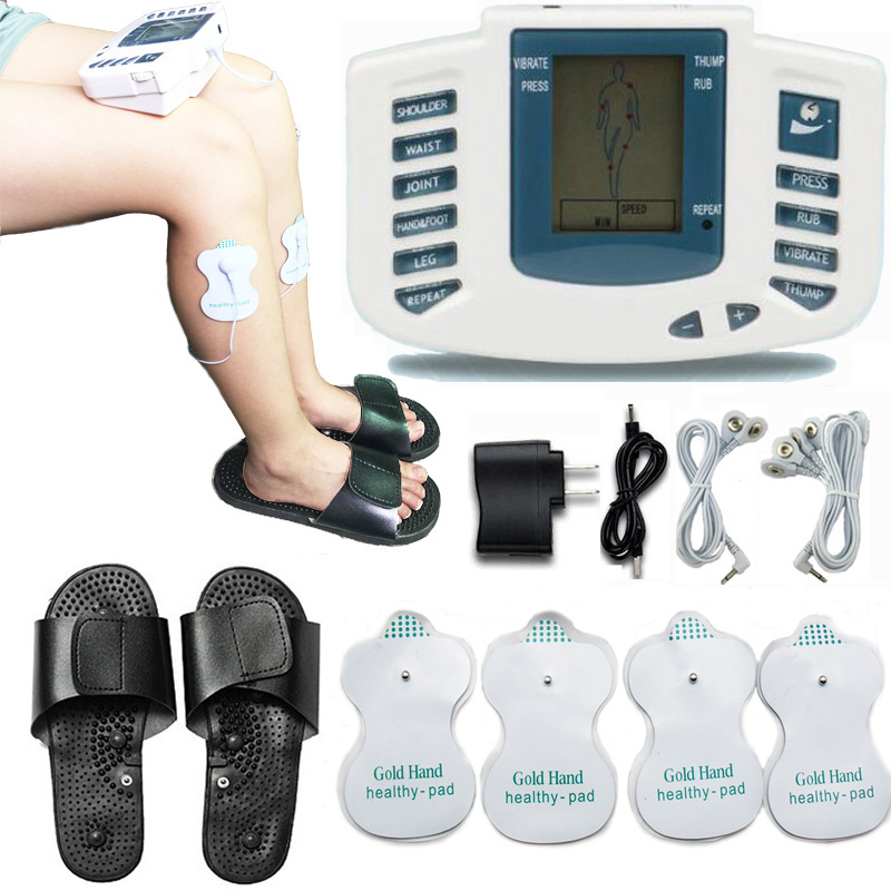 JR309A Electrical Stimulator Tens Acupuncture Full Body Pulse Relax Muscle Therapy Massager Machine with therapy slipper 2017 hot sale mini electric massager digital pulse therapy muscle full body massager silver