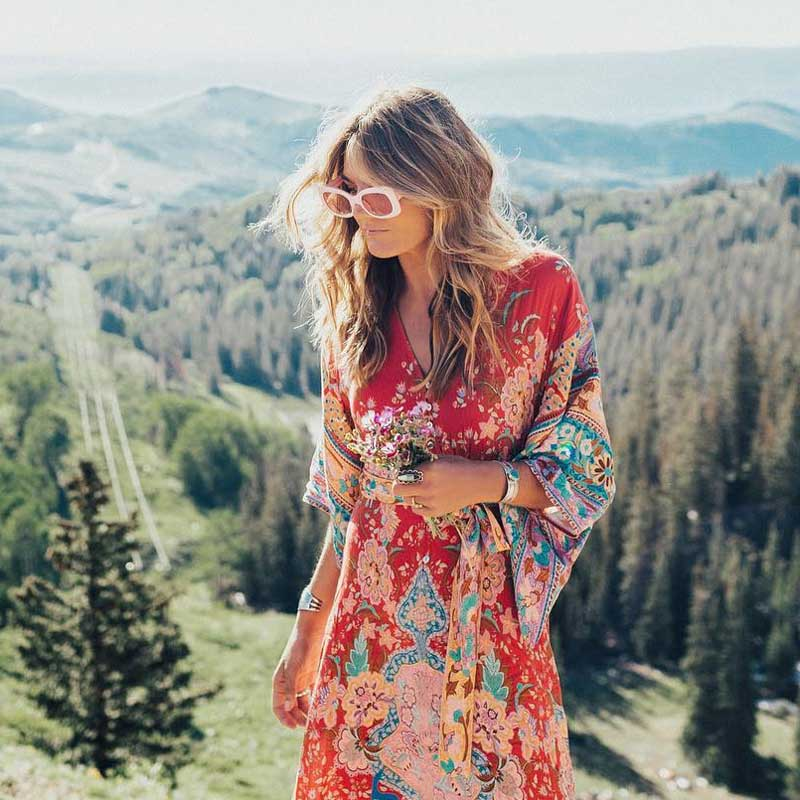 BOHO INSPIRED Kimono Dress Floral Print Buttons Front V