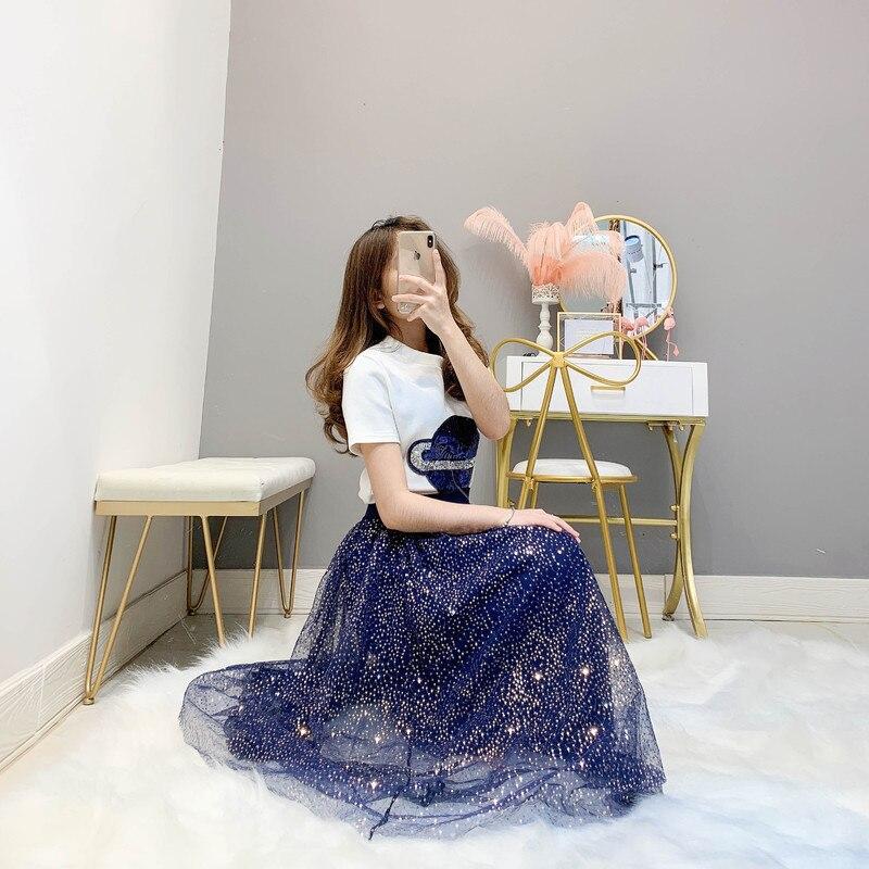 Planète Maille Courtes Mince T Ensemble Paillettes Bleu À shirt Robes Manches pièce Longue Blanc Jupe Femmes Deux Étincelle 2019 Décontracté Été HXFHBOI