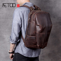 AETOO New large capacity mad horse leather shoulder bag, head cowhide handmade backpack, men's and women's travel bags