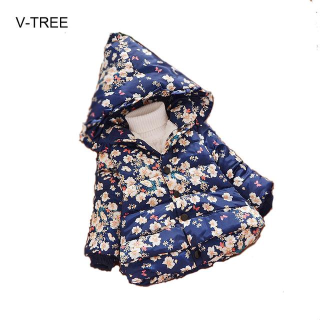 Invierno nueva capa de la Muchacha Floral de la Princesa ropa de Bebé más el abrigo de cachemir ropa de Bebé outwear