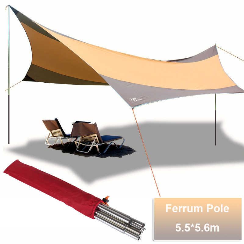 Flytop คุณภาพสูงขนาดใหญ่ 5.5*5.6 m Silver Anti UV เต็นท์ชายหาด Sun Shelter Camping เต็นท์กันสาด Tarp Gazebo รถหลังคาเต็นท์เสา