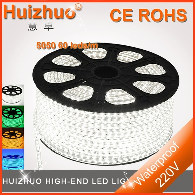 Big Discount[Huizhuo Lighting]Waterproof 5050 60leds/m 220V  led strip light  its lenght Can be 50m/Reel with one plug and clips
