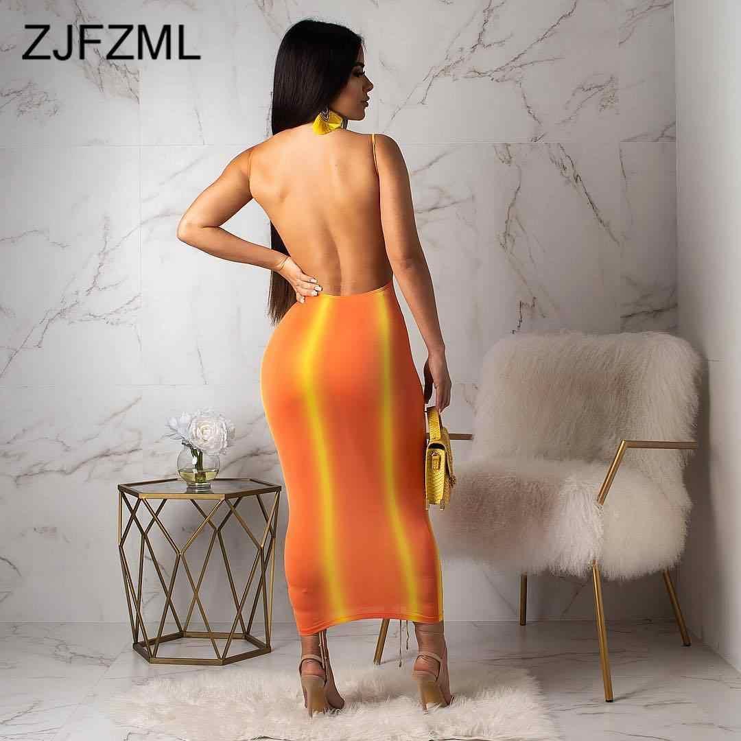 Градиентное сексуальное облегающее платье в полоску, женские неоновые оранжевые Вечерние платья на бретельках с открытой спиной, летнее пляжное платье без рукавов с круглым вырезом