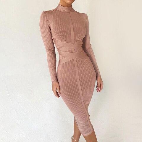 Seamyla новое зимнее облегающее Бандажное платье 2021 с длинным