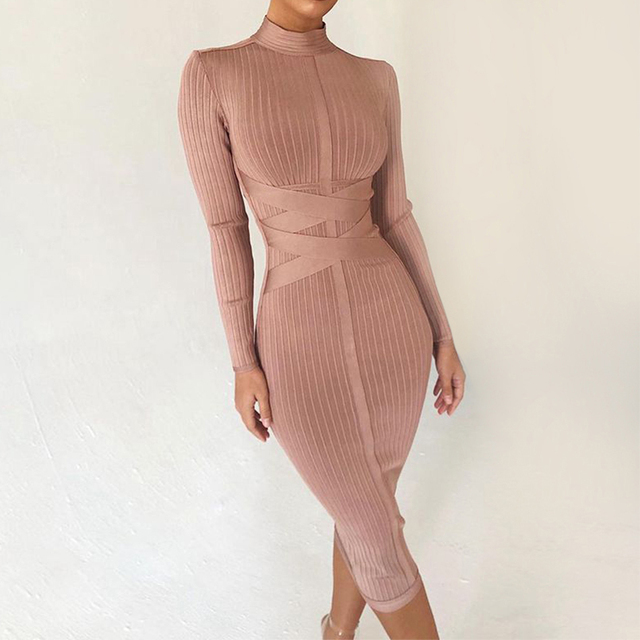 f2506513d9fd Seamyla New Summer Bodycon Bandage Dresses 2019 Long Sleeve Sexy Midi  Summer Dress Women Club Celebrity