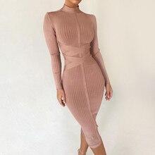 Seamyla yeni yaz Bodycon bandaj elbiseler 2019 uzun kollu seksi Midi yaz elbisesi kadın kulübü ünlü parti elbise Vestidos