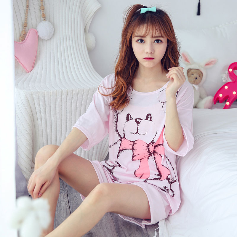 Women Summer Nightwear Girl Pajamas Suits Short Sleeve Shirt Short Pants Thin Cartoon Bear Lovely Cotton Housewear in Pajama Sets from Underwear Sleepwears
