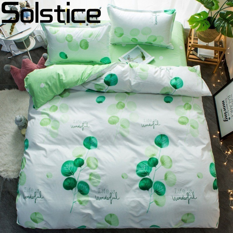 Solstice Bedding-Sets Comforter Pillowcases Duvet-Cover Bed-Sheet King Queen Green Full-Twin-Size