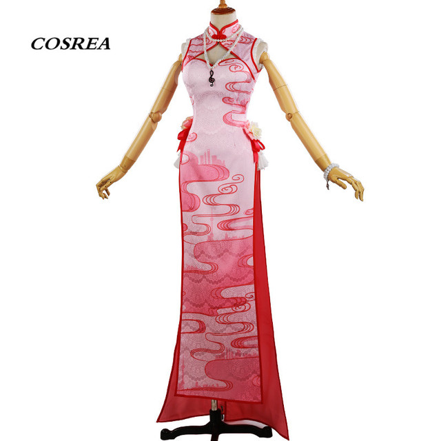 2fb052888085 COSREA Anime Vocaloid Hatsune Miku Cosplay Costume Red Cheongsam With  Necklace Dress Costumes Halloween Party For Adult Woman