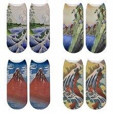 New 3D Printed Japanese Ukiyoe Painting Socks Summer Women World Famous Painting