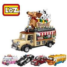 Bộ Lắp Ghép LOZ Mini Khối Xe Ô Tô Mô Hình Viên Gạch Xây Dựng Đua Xe Bán Kem Hotdog LOZ Khối Làm Cỏ Xe Ô Tô 1113 1114