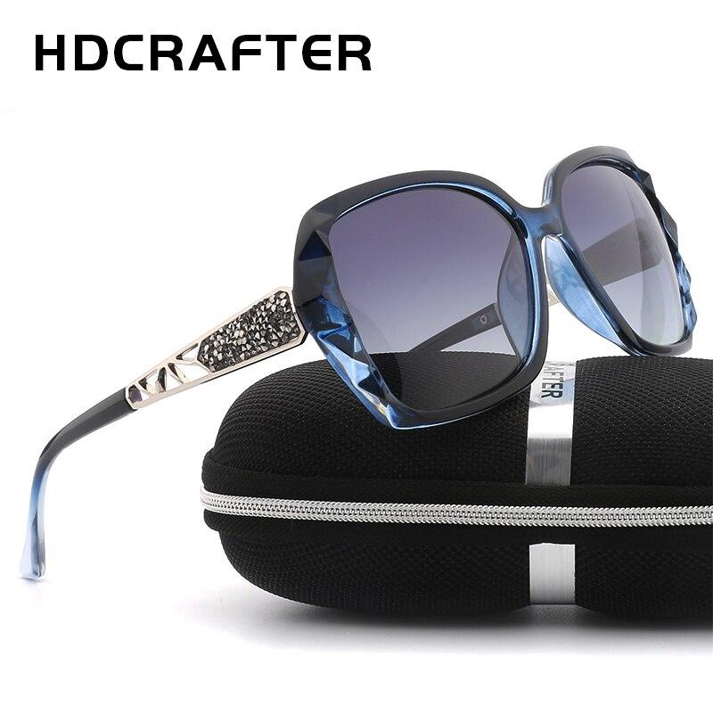 HDCRAFTER De Luxe Femmes lunettes de Soleil Designer Marque 2018 Polarisées Surdimensionné Élégant Lunettes de Soleil UV400 Oculos De Sol Shades