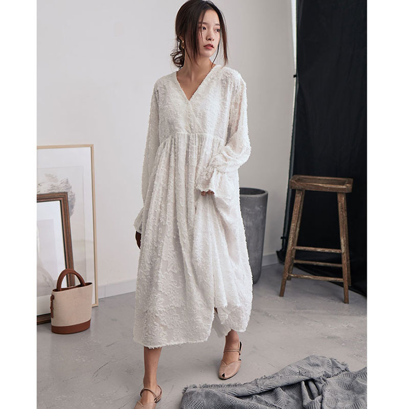 1debe702f6848 White Feathers Dress Women 2019 New V Neck Long Sleeve Oversize Summer  Dresses Loose Pullover Korean Fashion Clothing - aliexpress.com