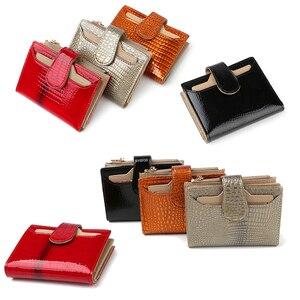 Image 5 - Billetera de cuero de moda para mujer, monedero pequeño, bolsillo para monedas, tarjetero de cuero auténtico