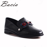 Bacia Flats Women Cow Leather Genuine Leather Loafers Round Toe Slip on Handmade Flats Paisley& Floral Shoes 3 wear ways VXB039