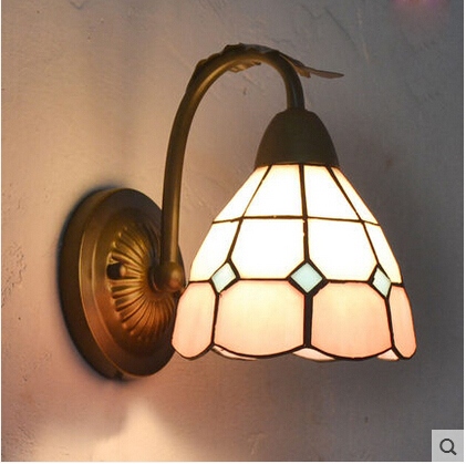 The Mediterranean Style Lighting Tiffany Stained Glass Wall Light Wrought Iron Lamps Bathroom