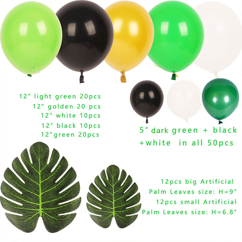 Animal Foil Balloons Decoration Birthday Safari Party Green White Black 12 quot 5 quot Latex Balloons 100pcs Baby Shower in Ballons amp Accessories from Home amp Garden