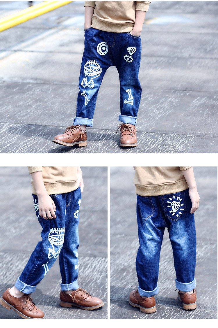 high quality fashion 2017 children jeans for boys kids scrawl pattern denim pants clothing children baby little big boy jeans clothes 6 7 8 9 10 11 12 13 14 15 16 years old (14)