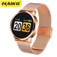 2019New Q8 OLED Bluetooth montre intelligente en acier inoxydable étanche dispositif portable Smartwatch montre-bracelet hommes femmes Fitness Tracker