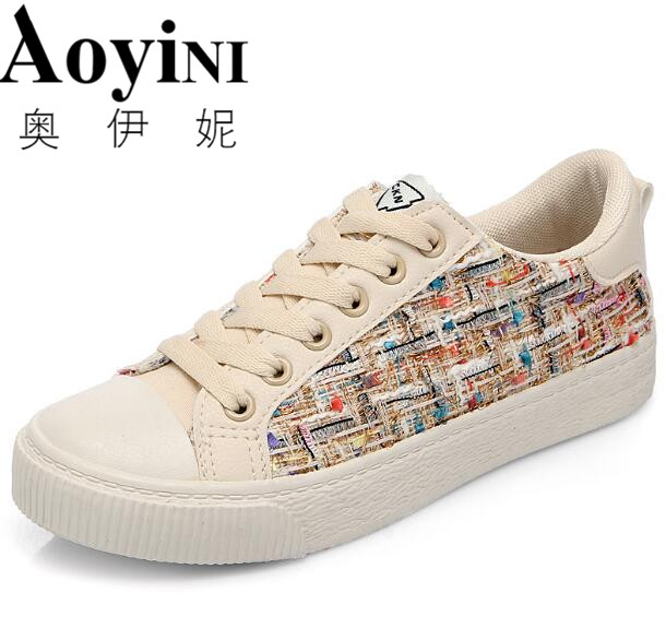 Canvas Women Platform Shoes Breathable Casual Shoes Mixed Colors Fashion Vulcanize Shoes Sewing Causal Sneakers Non-slip Shoes