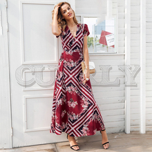 CUERLY Boho print v neck wrap summer dress Elegant high waist long women vestidos Short sleeve maxi dress 2019 new cuerly sexy see through burgundy lace dress women summer high waist v neck dress elegant maxi long dress vestidos