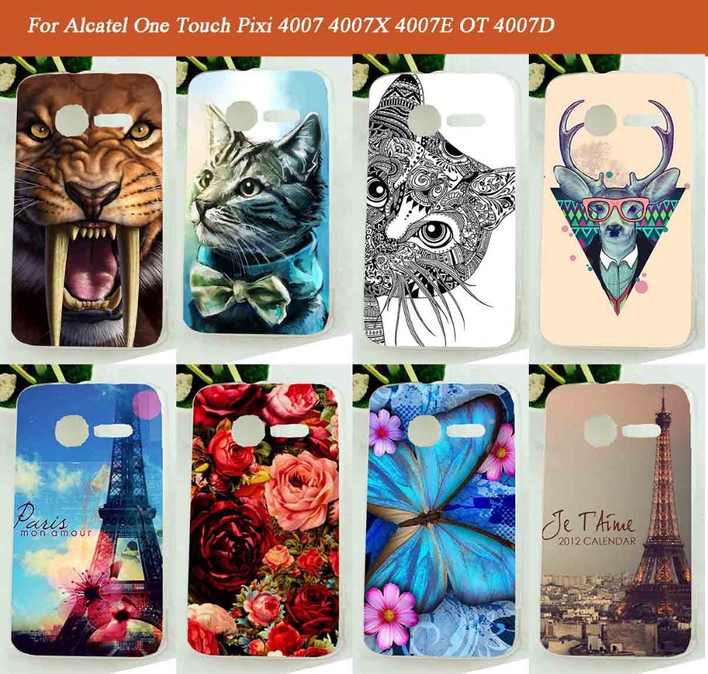 Colored Drawing Soft TPU Painted Flowers animalsTowers design Case Cover For <font><b>Alcatel</b></font> <font><b>One</b></font> <font><b>Touch</b></font> Pixi 4007 4007X 4007E OT <font><b>4007D</b></font> image