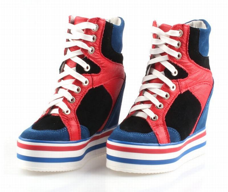 bbb6f093 Casuales Superior Cuña Ascensor Blue Yellow Black white White Up Botines  Zapatos De Red Cuero Top Lace blue High Altura Aumento Red Todo Genuino  Calidad ...