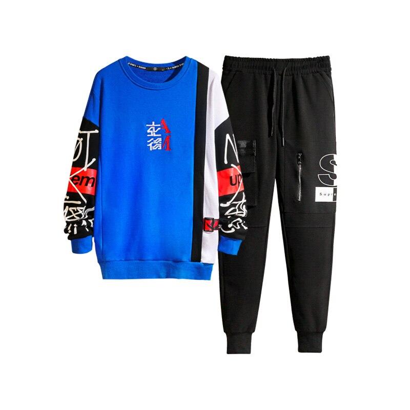 M-3XL 4XL 2019 Spring Summer Mens 2 Piece Tracksuits Fashion Men Track Suit With Pants Sweat Men Joggers Suit Sets