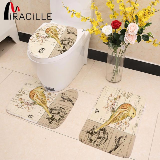 Miracille Chinese Vintage Birds Printed Warmer Rug Toilet Seat Cover Bathroom Mat Set 3pcs Decorations for Home New Year Decor